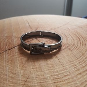 Gun metal hinged belt bangle